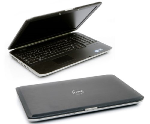 Two views of laptop. One with screen open, black interior and full keyboard with number pad. Other with laptop closed, black top, Dell logo, silver edges.
