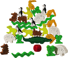 Picture shows wooden animals stack upon one another