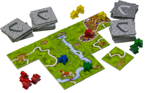 Picture depicts the Carcassonne game layout