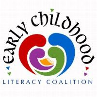 Early Childhood Literacy Coalition Logo - a colorful, abstract logo. Blobs shaped like colons (the punctuation mark, not the body part) are nested within eachother, forming an almost-heart shape. On the inside of this heart shape rests an open book.
